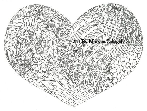 coloring page heart love valentines day card printable download - Coloring Pages Hearts Love