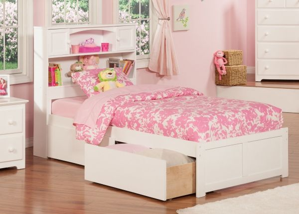 Newport White Twin Extra Long Bed w/Flat Footboard | Atlantic ...
