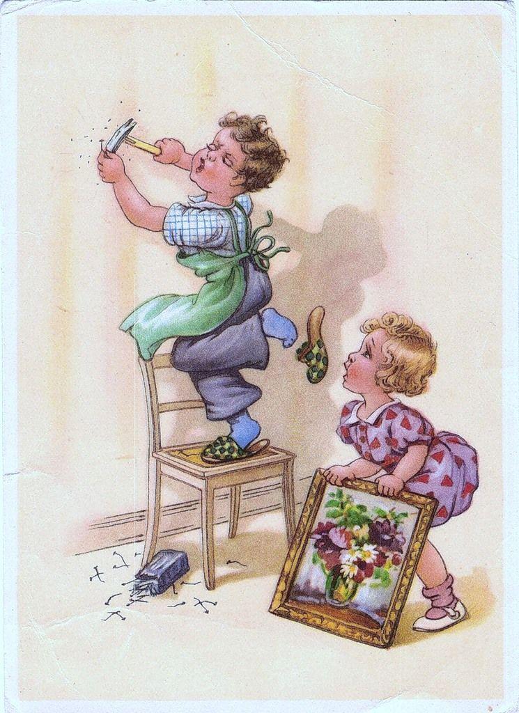 через несколько старые немецкие открытки женщине