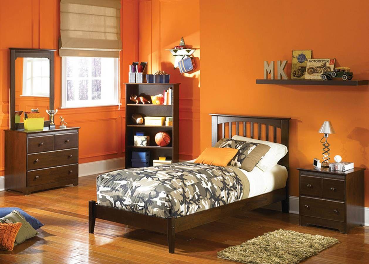 Brooklyn Antique Walnut Twin Bed w/ Open Foot Rail or