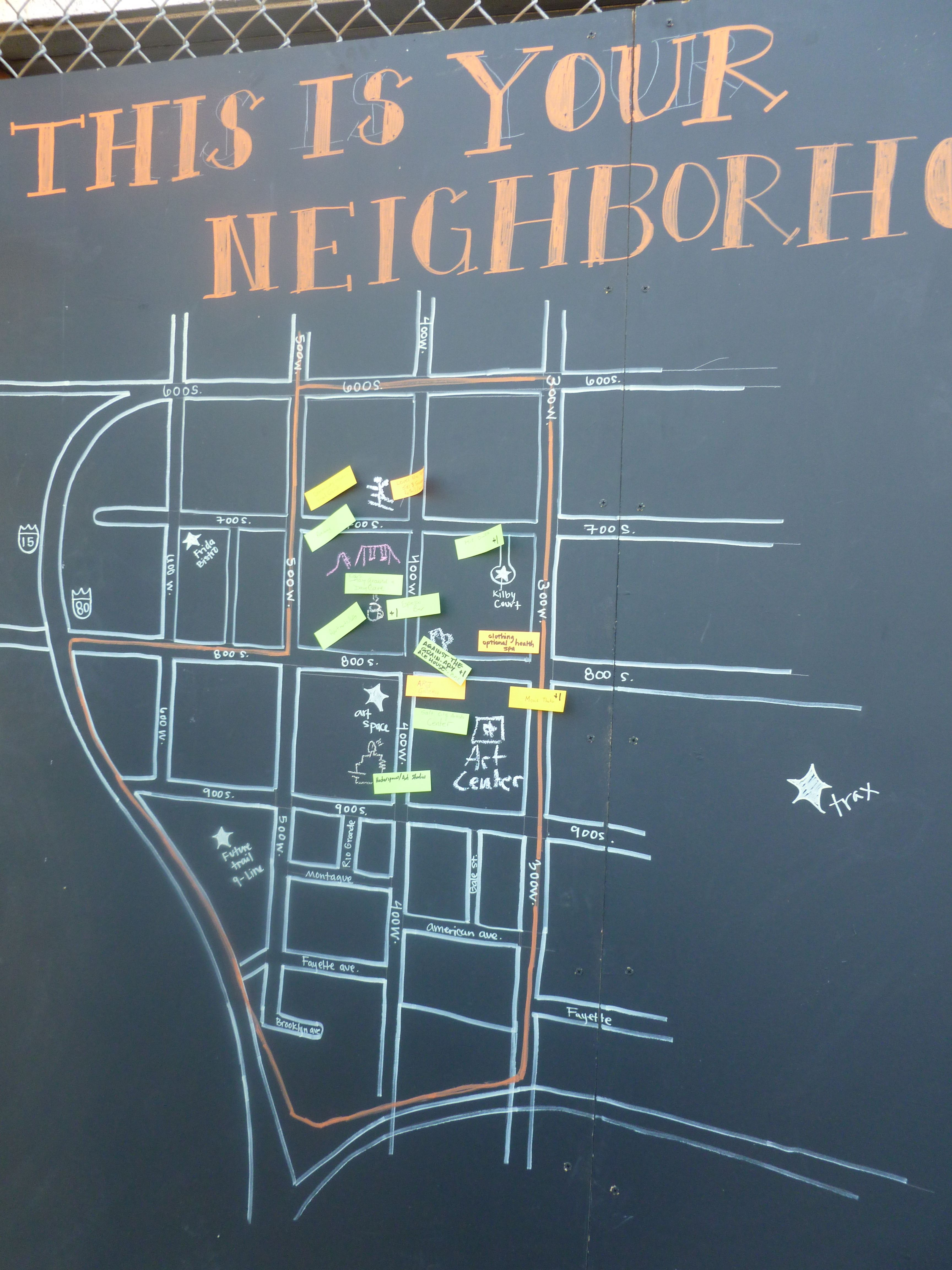 Neighborhood Idea Map at the Block Party... But replace with county ...