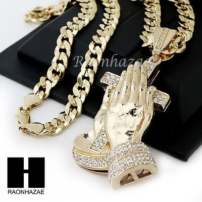 82bbb93acf034 HIP HOP ICED OUT PRAYING HANDS PENDANT 20