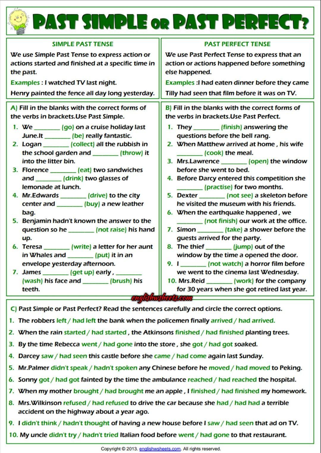 Solving Polynomials Worksheet Word Simple Past Or Past Perfect Esl Exercises Worksheet  Esl  Grammar Exercises For Kids Worksheet Word with Esl Questions Worksheets Simple Past Or Past Perfect Esl Exercises Worksheet Common Core Math Word Problems 5th Grade Worksheets Pdf