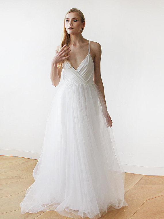 Ivory Straps Wrap Tulle Maxi Dress Fairy Tulle Wedding Gown