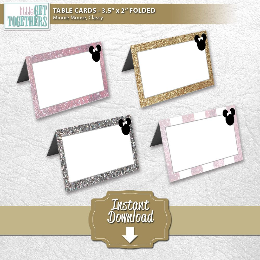 Birthday Party   Minnie Mouse Classy Theme   Printable DIY Table Tent Cards    Cut Out, Fold In Half, Write Whatever You Want On The Card, And Thatu0027s It!