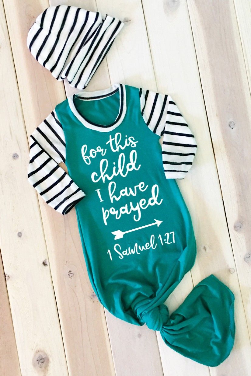 For This Child I Have Prayed Boy Newborn Knotted Gown & Slouchy ...