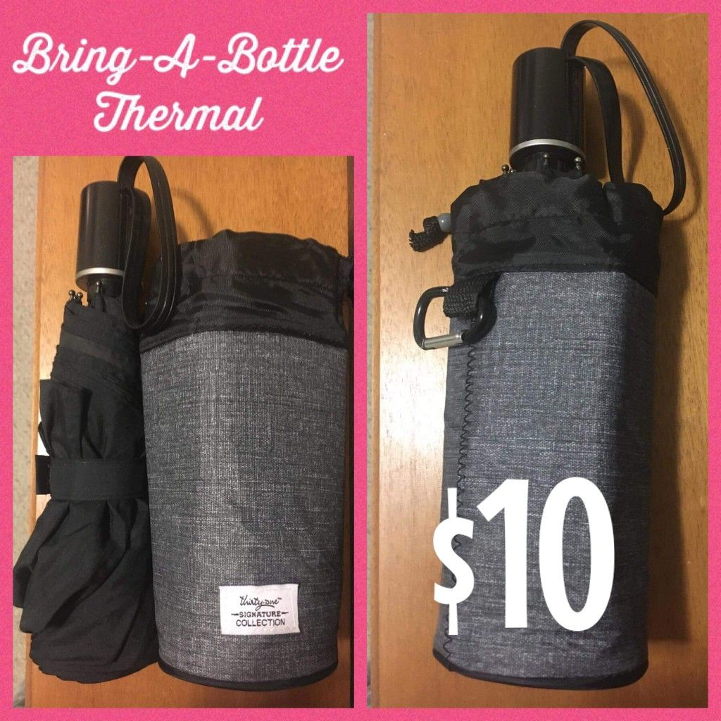 Did you know? A travel/small umbrella will fit inside the Bring A Bottle Thermal! Perfect for when the umbrella is wet and you don't want to get your seat or floor board wet! Comes in Charcoal Crosshatch and On the Spot. #smallumbrella