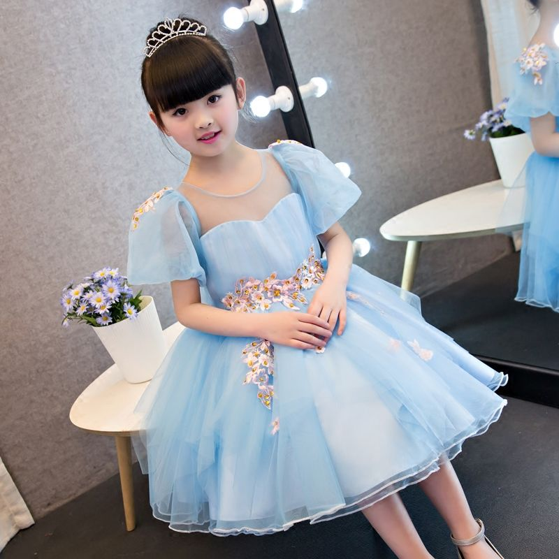 2017 New Korean Sweet Cute Baby Girls Blue Color Summer Princess ...