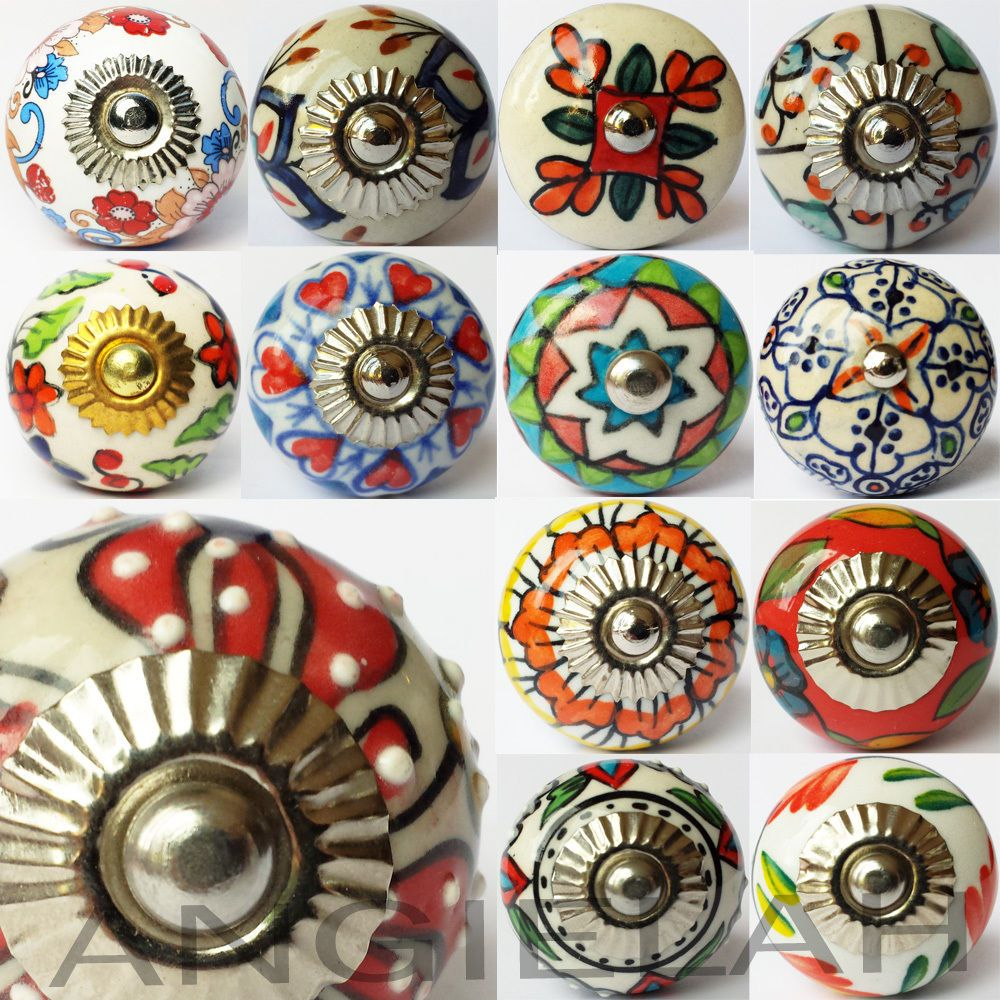 artisan ceramic knob door handles pull hippy arty multi coloured