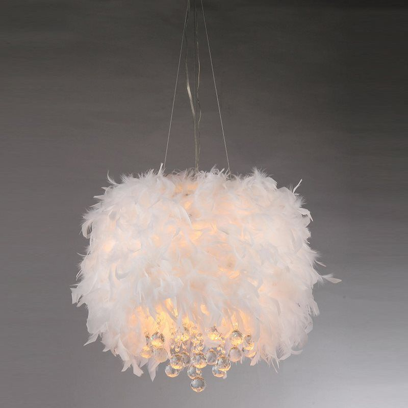 Ivory 3 Light Fashion Shade Crystal Base Pendant Chandelier