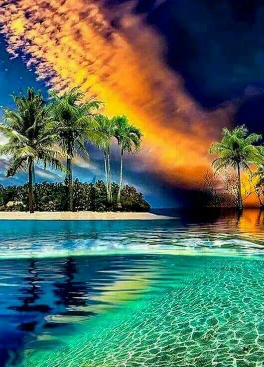 sunset over tropical paradise