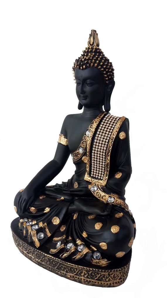 Lord Buddha Yoga room Feng shui Thai gold/black Handcrafted Meditating Buddha Decorative Showpiece/Statue-28 cm(Polyresin)House warming Gift #buddhadecor