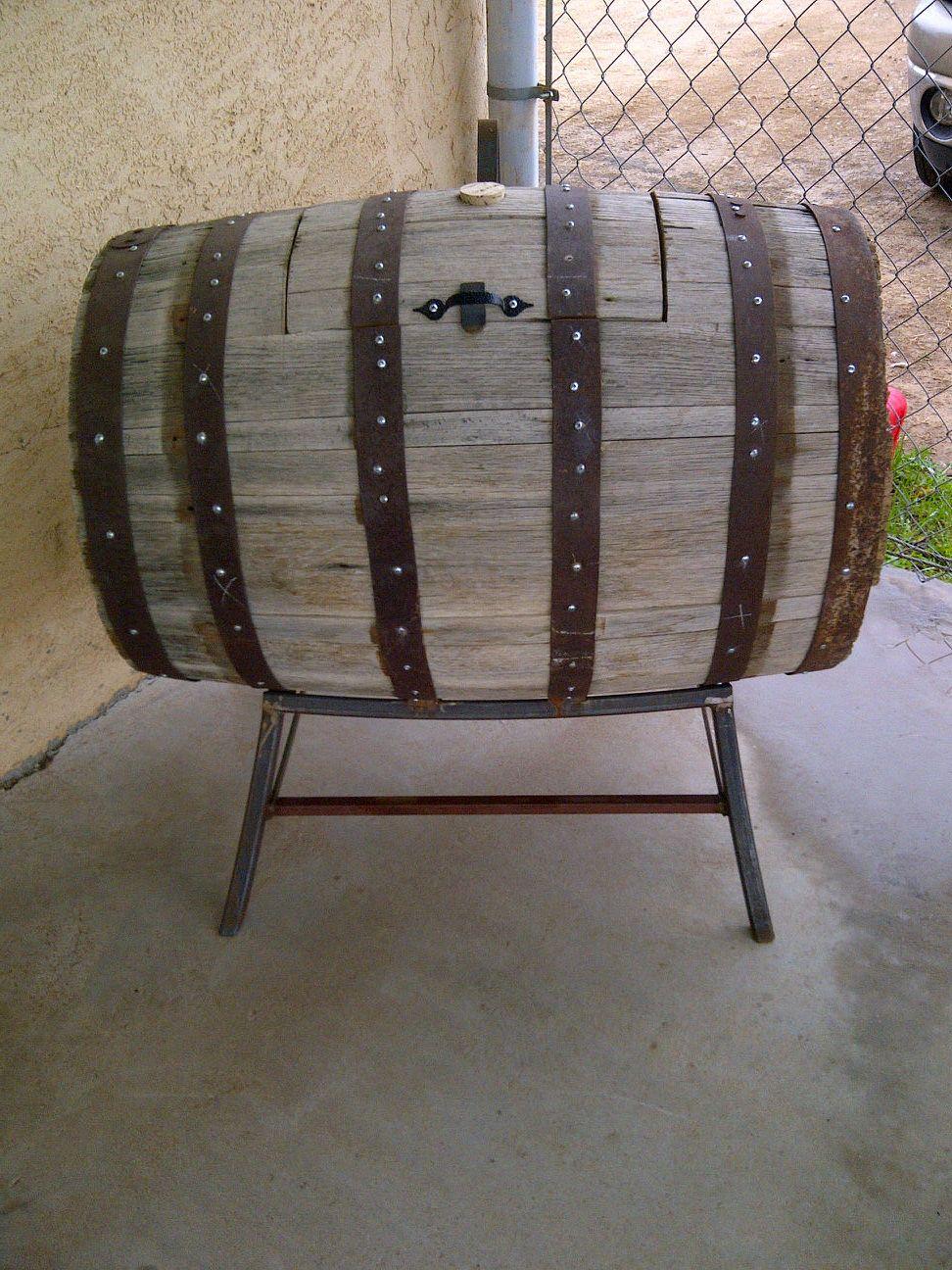 Diy Whiskey Barrel Turned Into Beverage Cooler Would