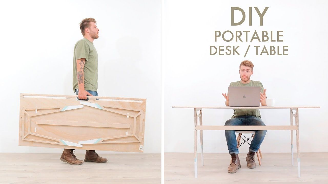 Diy Portable Foldable Desk From One Sheet Of Plywood Youtube
