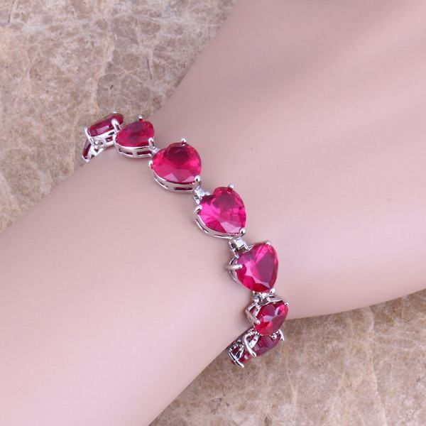 Heart Shaped Red Ruby 925 Sterling Silver Overlay Link Chain Bracelet 7 inch For Women Free Shipping & Jewelry Bag S0283
