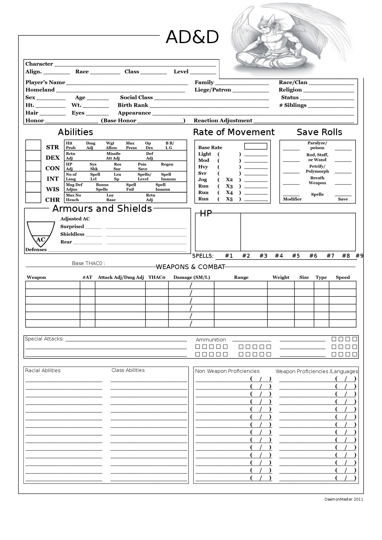 dungeons and dragons character sheets ad u0026d player character