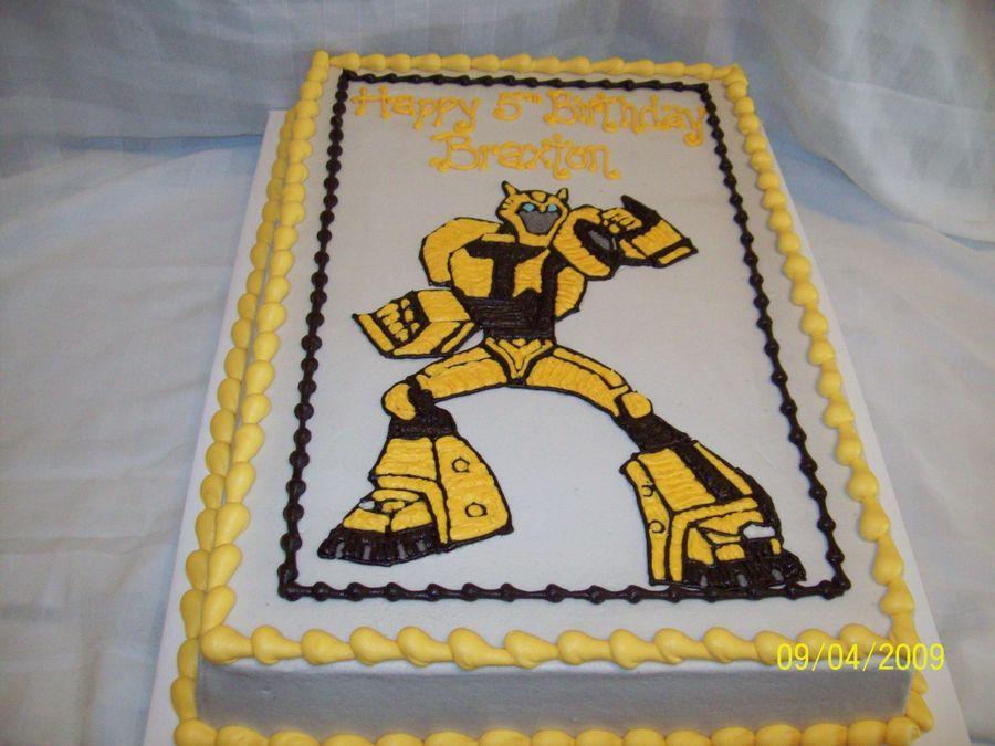 Transformers Bumblebee Sheet Cake Iced In Buttercream