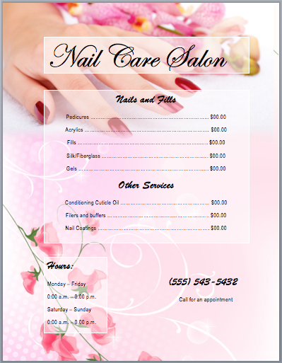 Good Nail Services Salon Price List Template | Printable Templates