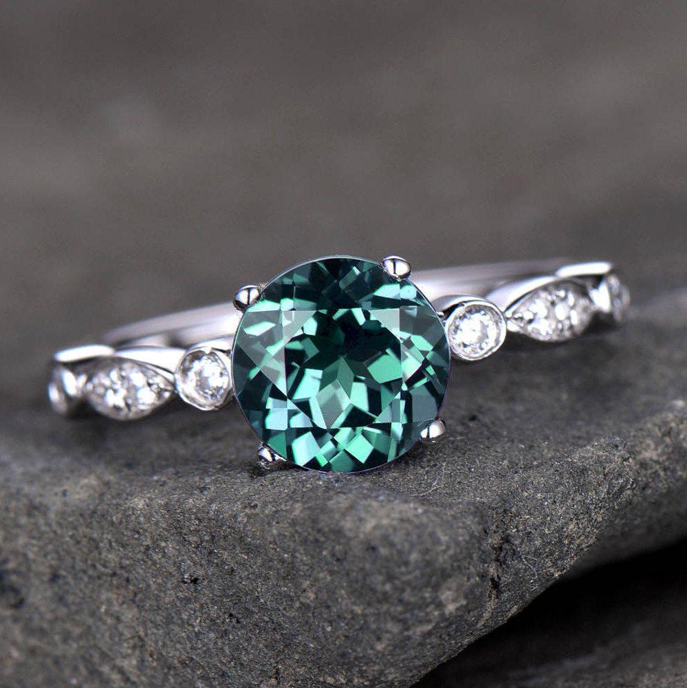 Alexandrite engagement ring art deco wedding band 65mm