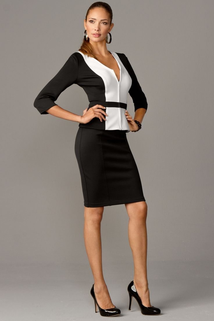 black + white skirt suit set | Occasion: Client Meeting in ...