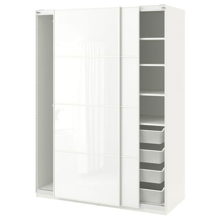 IKEA PAX Garderobe weiß, weißes Glas Färvik (mit Bildern