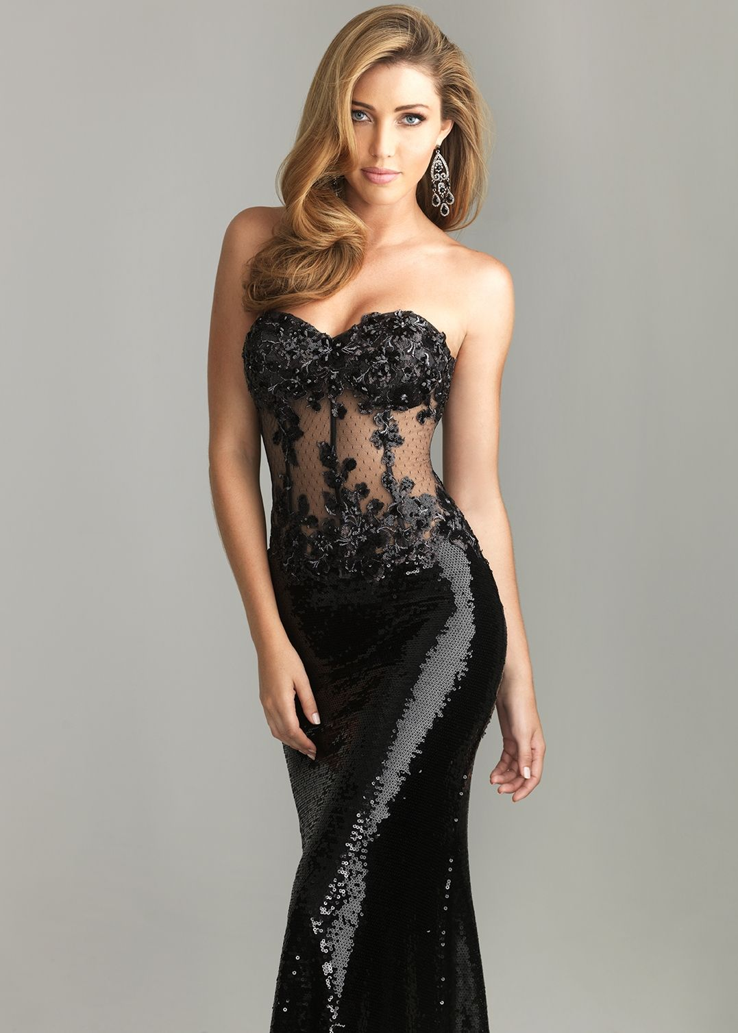 Black dress for prom night - Sexy Black Sequin Corset Prom Dress Formal Gowns Night Moves 6611 Thepromdresses