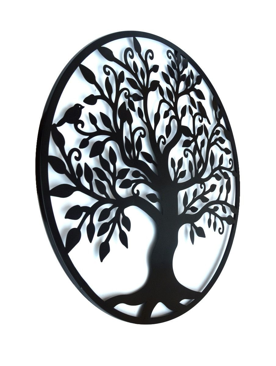 Black tree of life wall art hanging metal iron sculpture