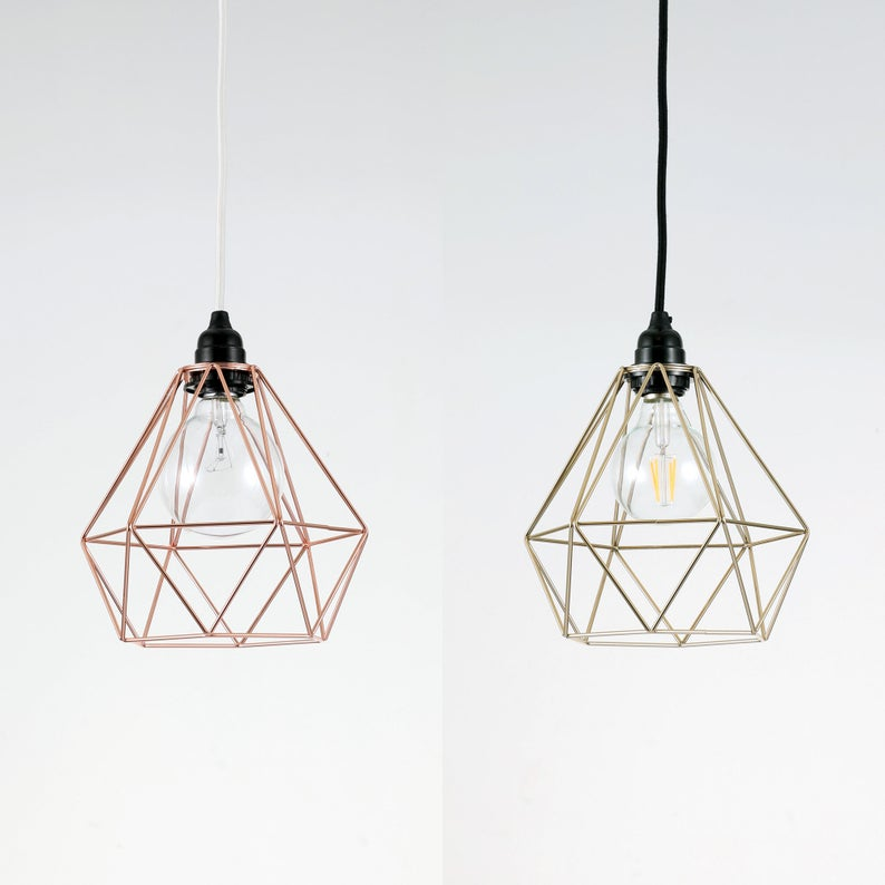 Gold Diamond Cage Pendant Light Fixture Wire Cage Lamp Shade