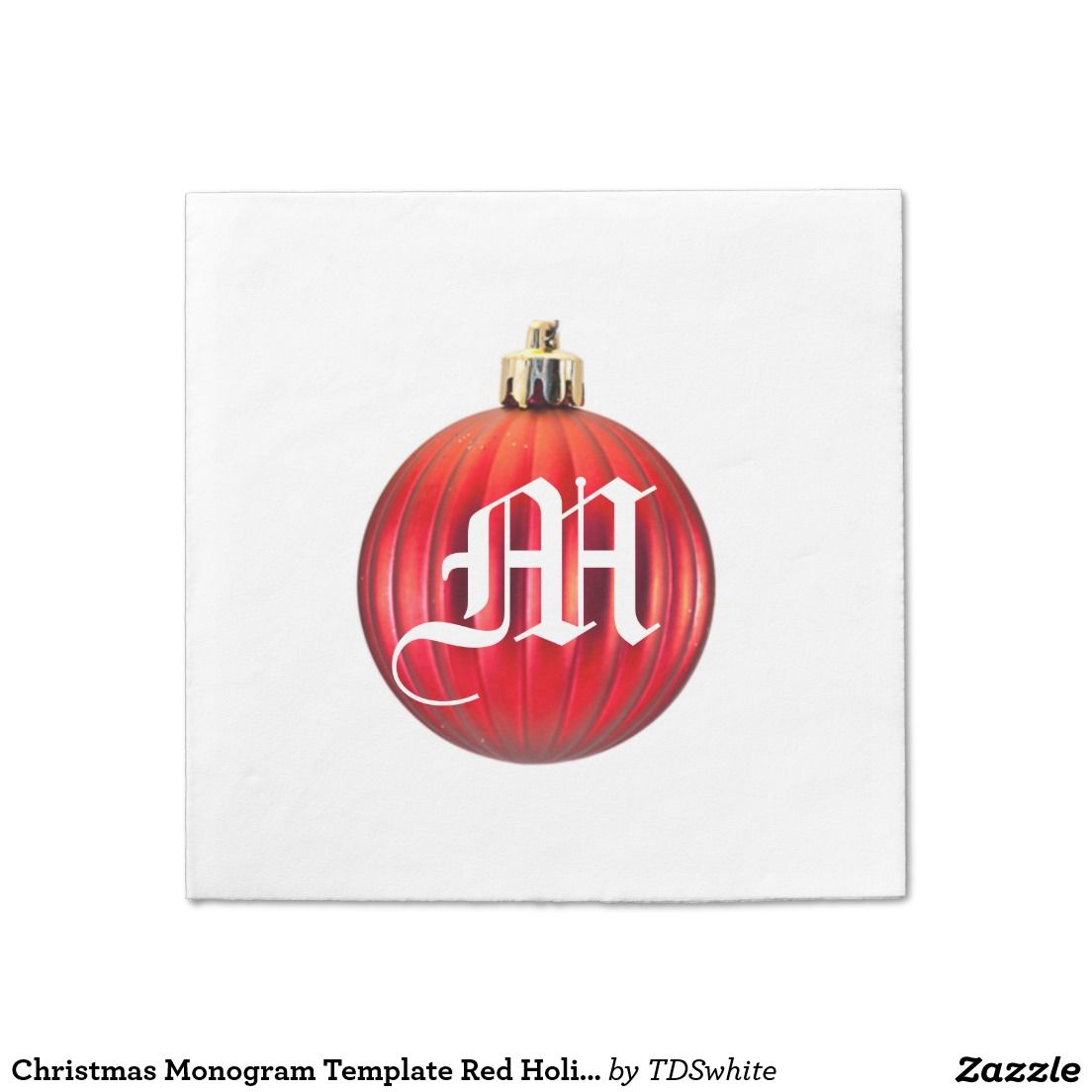 Christmas Monogram Template Red Holiday Ornament Standard Cocktail Napkin