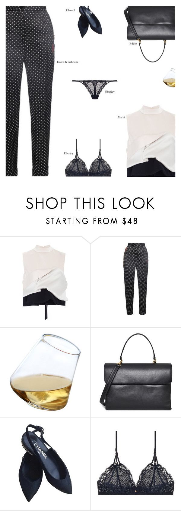 """""""Untitled #3210"""" by amberelb ❤ liked on Polyvore featuring Marni, Dolce&Gabbana, Sempli, Eddie, Chanel and Eberjey"""