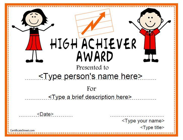 Education Certificate - High Achiever Award CertificateStreet - blank certificate forms
