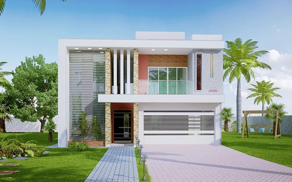 Fachadas de casas de dos plantas y 8 metros de frente Fachadas para casas de dos plantas