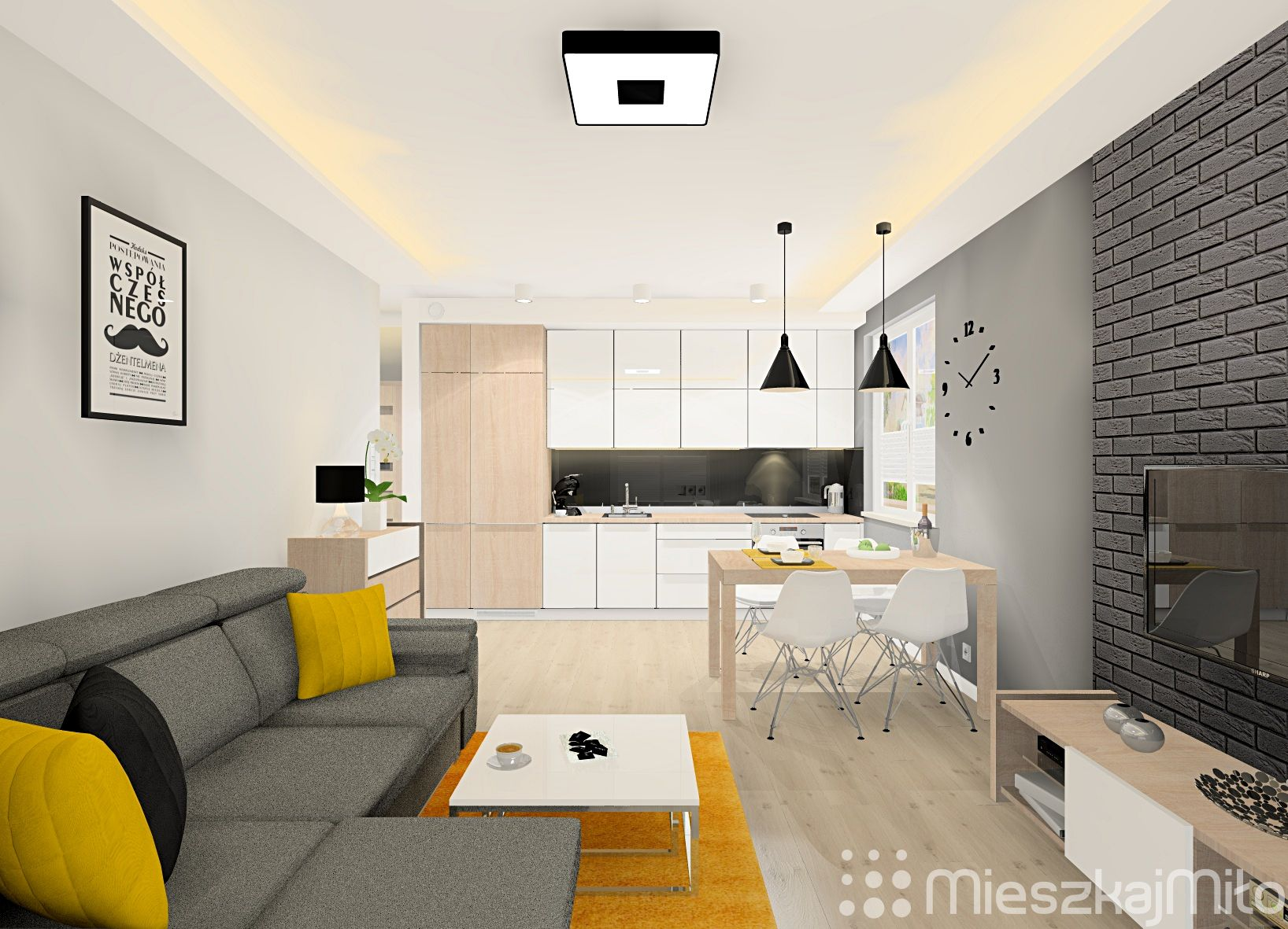 Salon Z Aneksem Kuchennym Home Home Decor Living Room Kitchen
