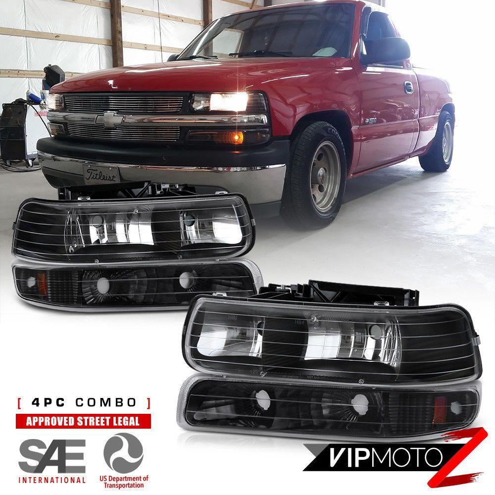 Chevy 99 02 Silverado 1500 2500 3500 Black Headlight Bumper Parking Lamp 4pc Set Ebay Black Headlights Silverado 1500 Chevy