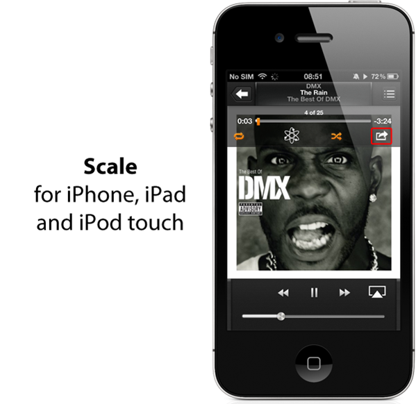 SCALE FOR IPHONE LETS YOU SHARE YOUR NOW PLAYING SONG VIA
