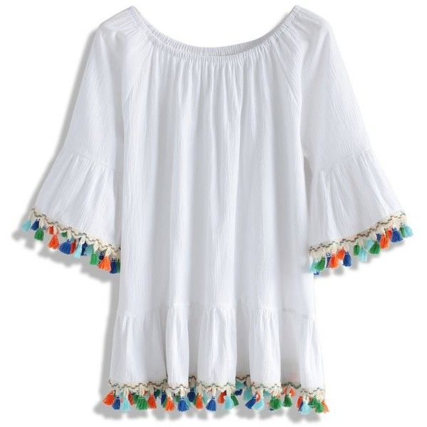 11b677efce7f0 Chicwish Rainbow Swinger Off-shoulder Top in White (€38) via Polyvore  featuring tops