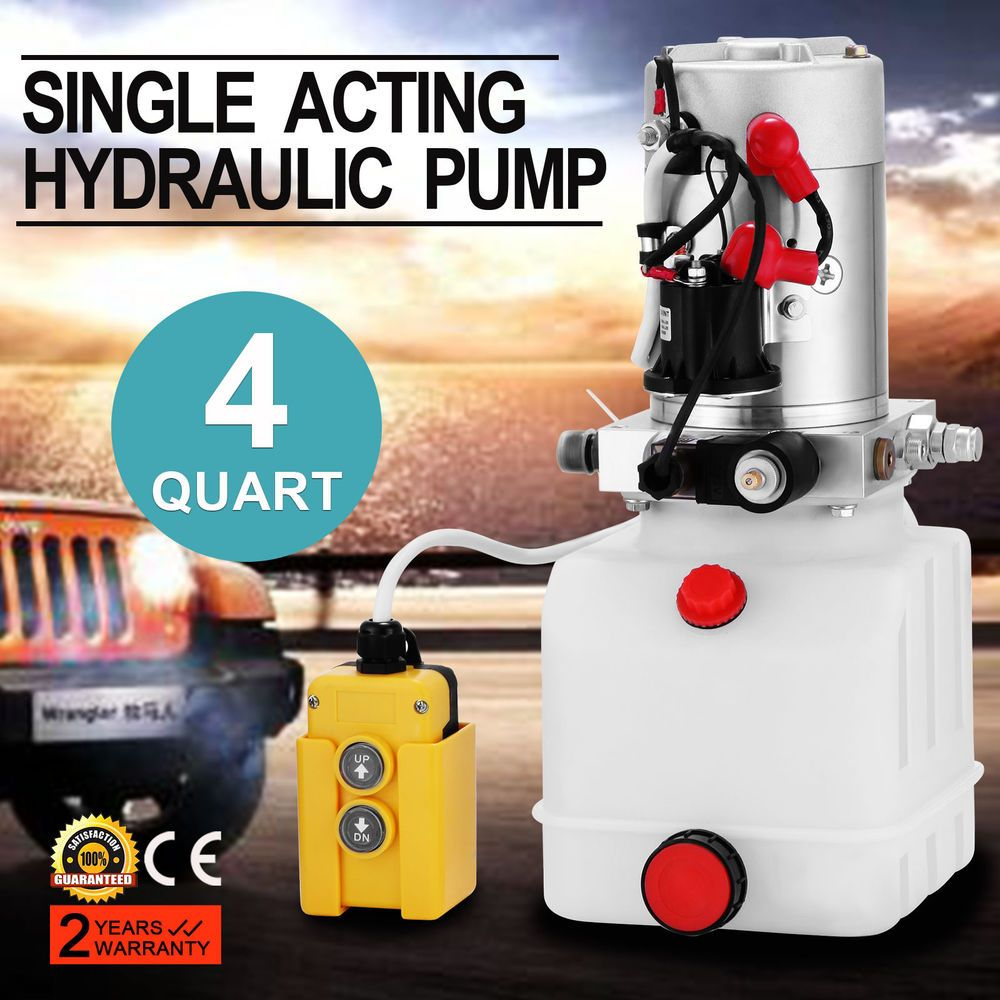 4 Quart Single Acting Hydraulic Pump Dump Trailer Lifting Reservoir Controller Control Kit Ebay Link