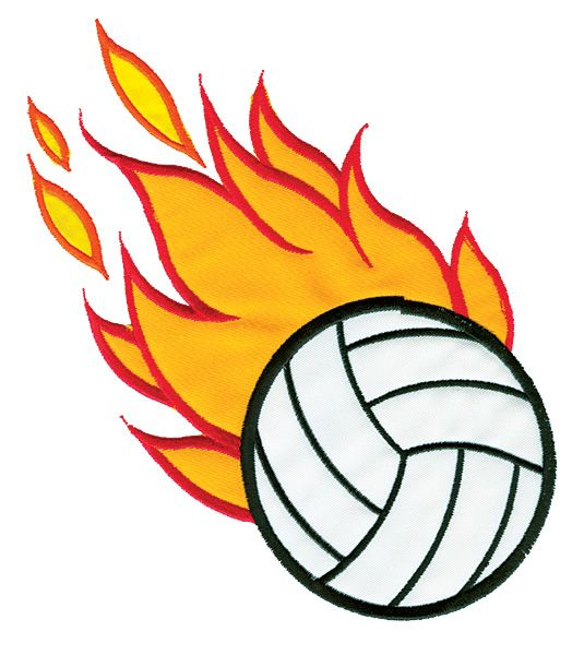 Sports Embroidery Design Flaming Volleyball Applique From Grand Slam Designs Embroidery Applique Embroidery Designs Embroidery