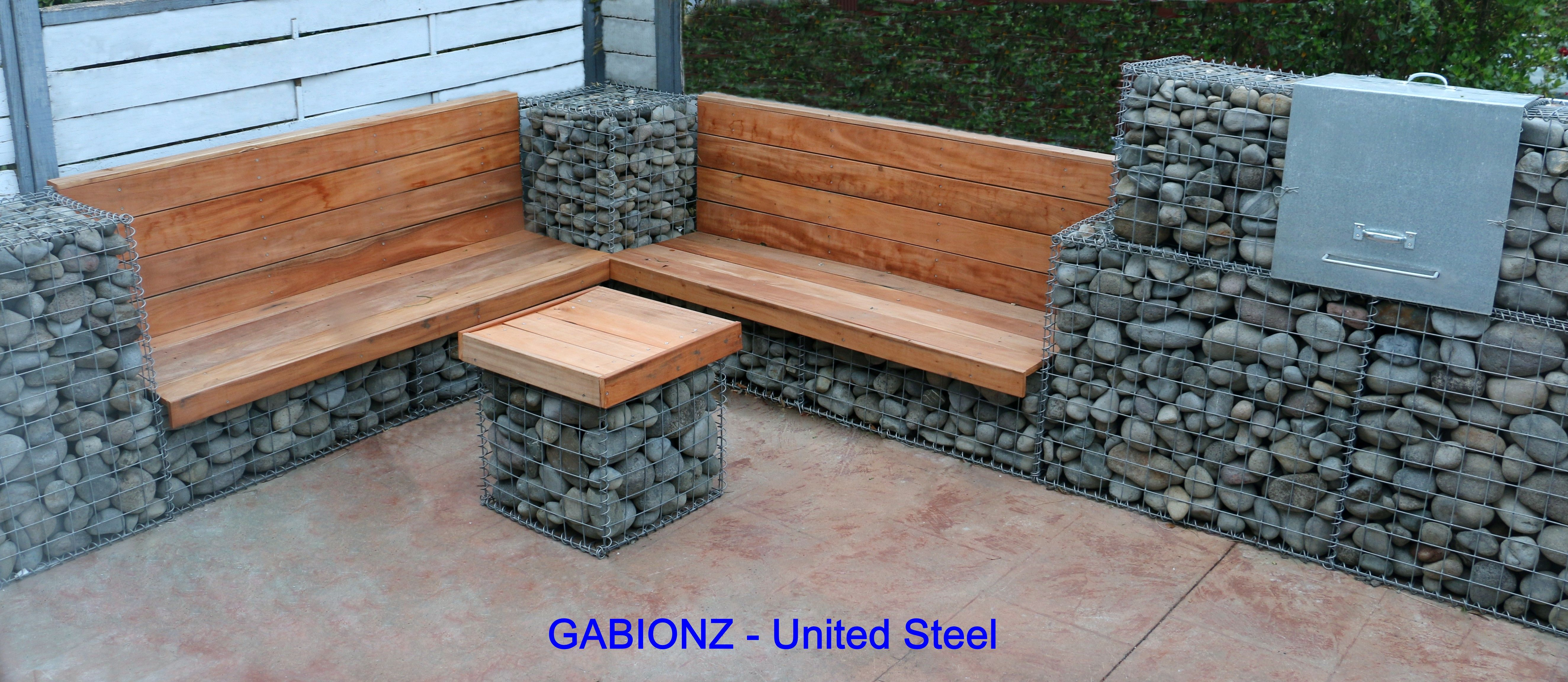 gabion project of garden furniture with table and benches as well as barbeque  used united steel