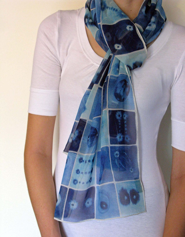 Blue Mitosis Silk Scarf. $50.00, via Etsy.