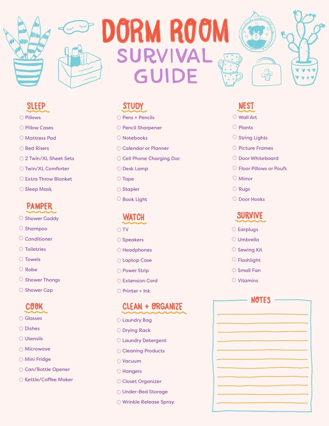 Print This Dorm Room Checklist To Survive College Dorm Room Checklist College Dorm Checklist Dorm Checklist
