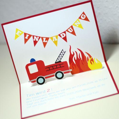 feuerwehr - party - fire truck - invitation - einladung, Einladungsentwurf