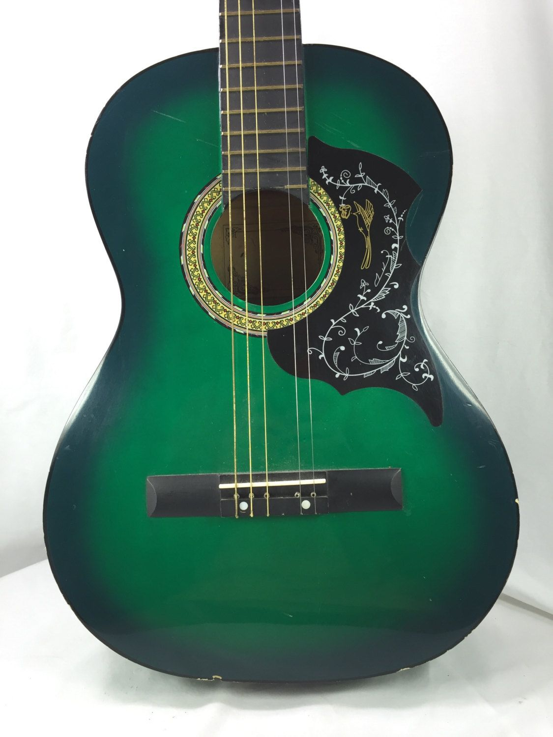 Acoustic Guitar Green With Fancy Machine Heads Acoustic Guitar