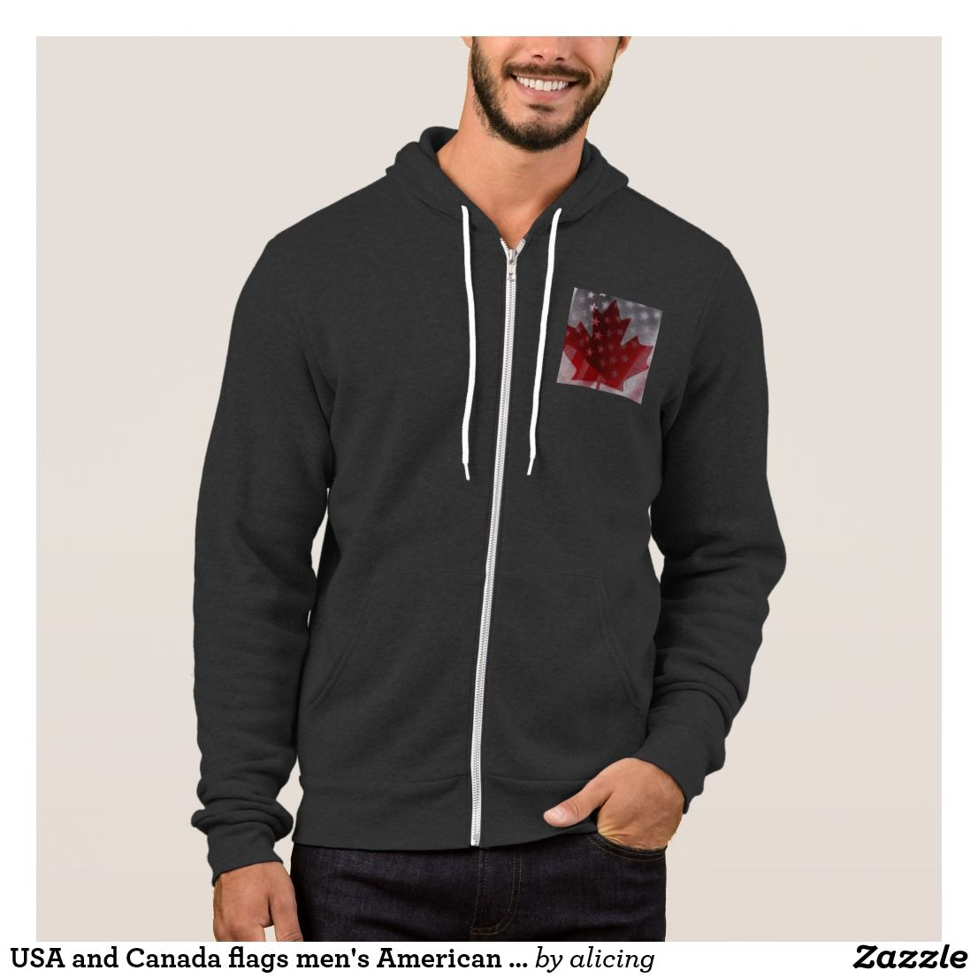 USA and Canada flags men's American Apparel hoodie
