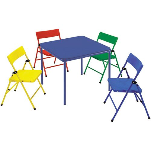 Kids 5 Piece Steel Frame Folding Chair And Table Set Walmart Com Kids Folding Chair Folding Chair Kids Table Chair Set