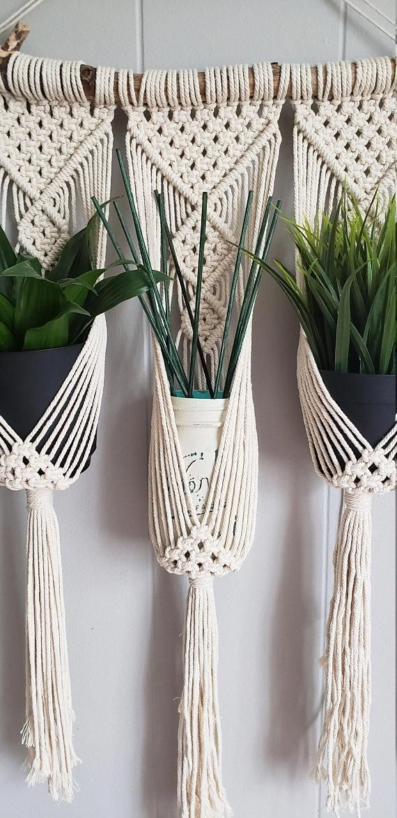 Photo of Macrame wall hanging triple plant holder / ombre macrame plant hanger / dip dyed…
