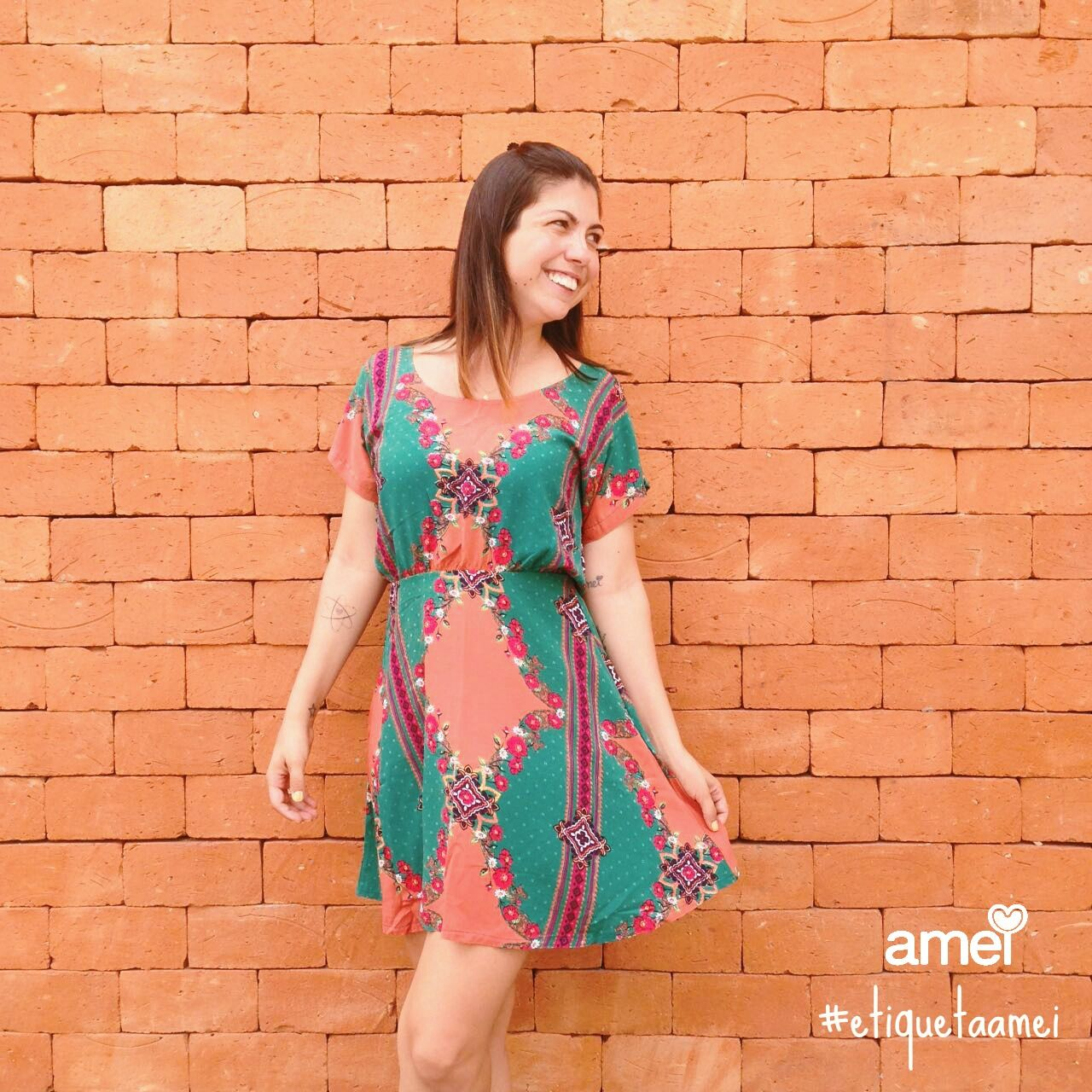 Toda semana esta entrando as novidades da #etiquetaamei ❤ #lojaamei #vestido #estampado #verde #lindo #novidade