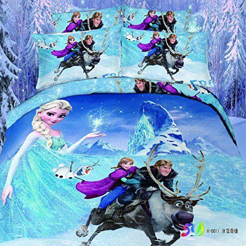 Frozen Cartoon Bedding Queen Full Twin Size Set Cotton Bed Sheet ...