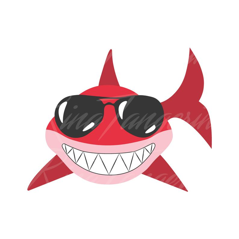 Red shark with glasses SVG Shark svg baby shark svg png