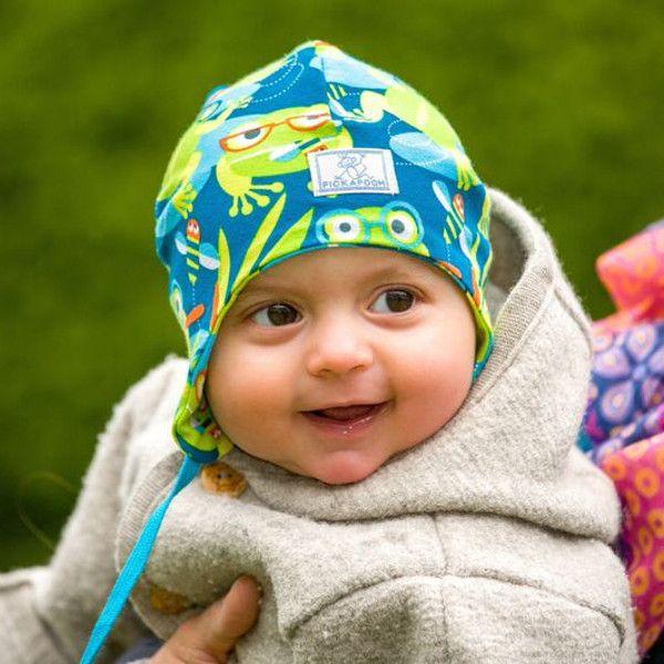 #Cuffietta per #neonato in #cotone #biologico - rane